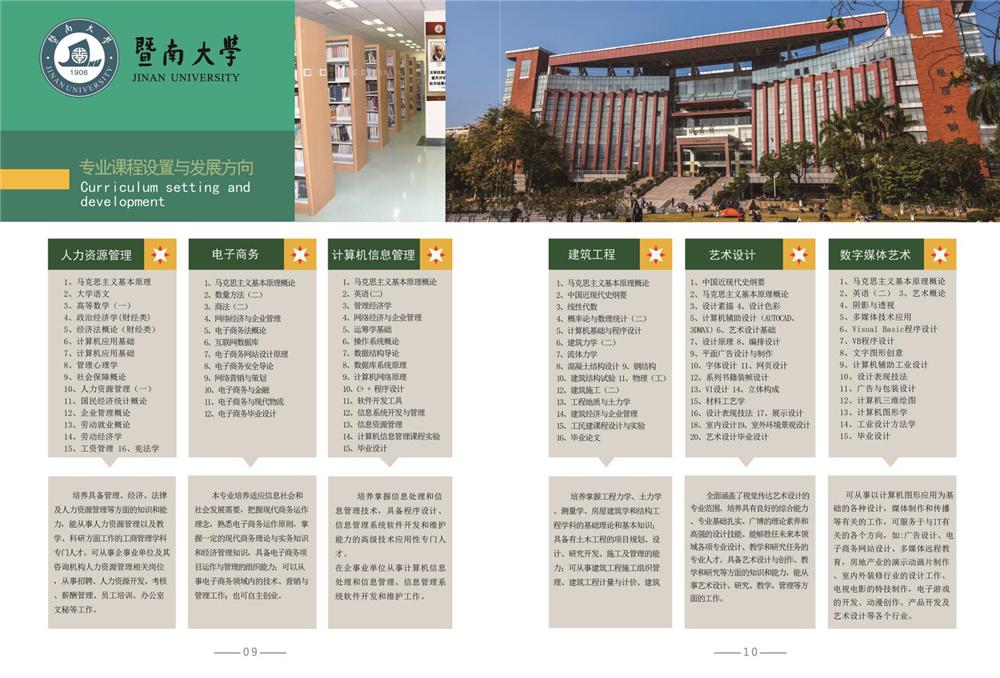 暨南大学自考专业课程设置及发展方向