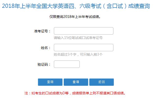 2018年12月天津CET4成绩公布入口