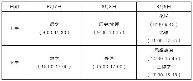 2021年湖北荆门高考时间:6月7日至9日